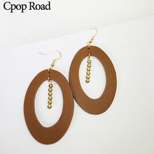 Cpop New Oval Fashion PU Leather Earrings Gold Beads Pendant Dangle Earring Women Jewelry Personality Accessories Gift Wholesale