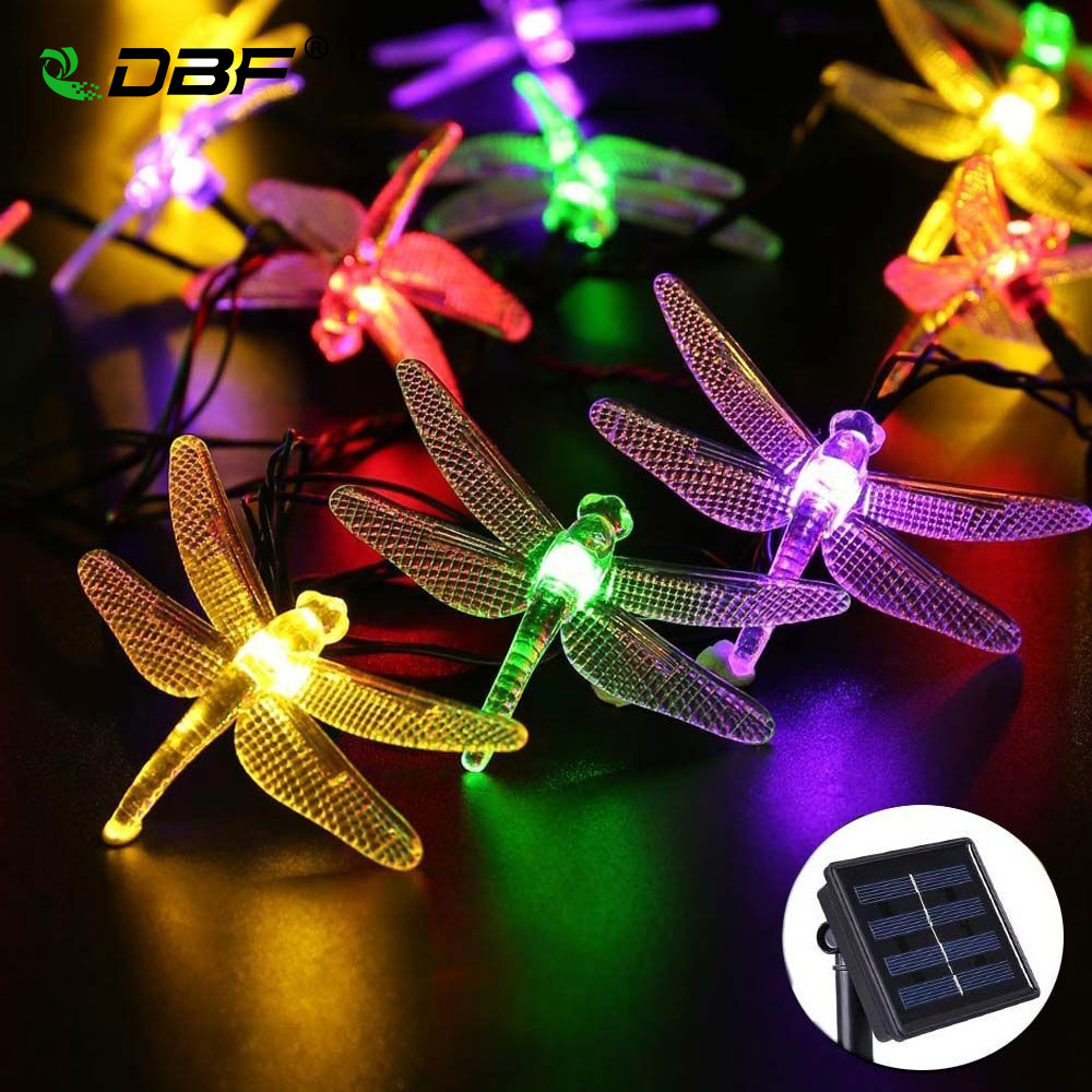 Solar Lamps 5M 20LEDs Outdoor Solar String Lights with Dragonflies Decorative Lights Waterproof Fairy Garden Christmas lights
