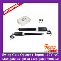 Stock Clearance ! Free Shipping 3000KGS force double leafs swing gate opener with two motors, one control box, two remotes