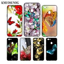 Silicone Phone Bag For OPPO F5 F7 F9 A5 A7 R9S R15 R17 Black Soft Case Colourful Butterfly Style