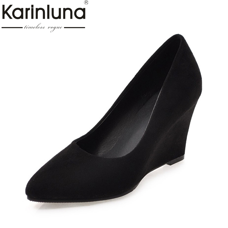 3aa4caac04 KARINLUNA New Large Size 33-43 wedge High Heels Ankle Boots shoes Woman  Fashion Party Shoes Women Short Boots