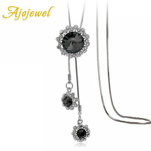 Ajojewel Women Long Necklaces & Pendants Gray Crystal Snowflake Sweater Chain Necklace Vintage Costume Jewelry Accessories