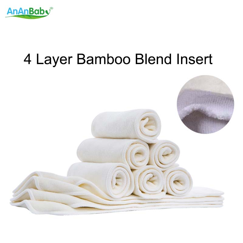 Ananbaby Cloth Diapers Inserts Reusable & Washable Bamboo Blend Inserts With Snaps In