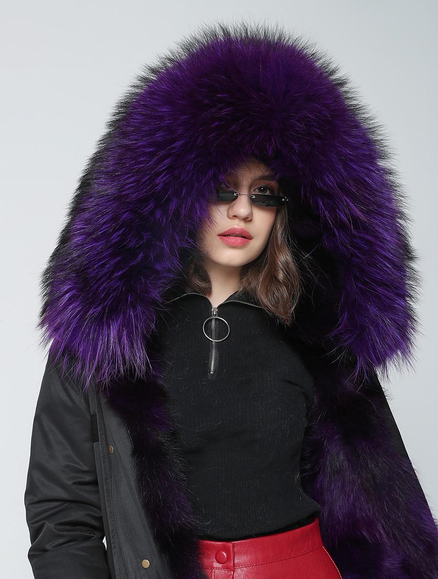 2019 Real Fur Coat Winter Jacket Women Long Parka Waterproof Big Natural Raccoon Fur Collar Hood Thick Warm Real Fox Fur Liner 55