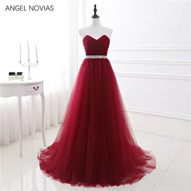 ANGEL NOVIAS Real Picture Long Burgundy Tulle Prom Dress 2019 Long ...