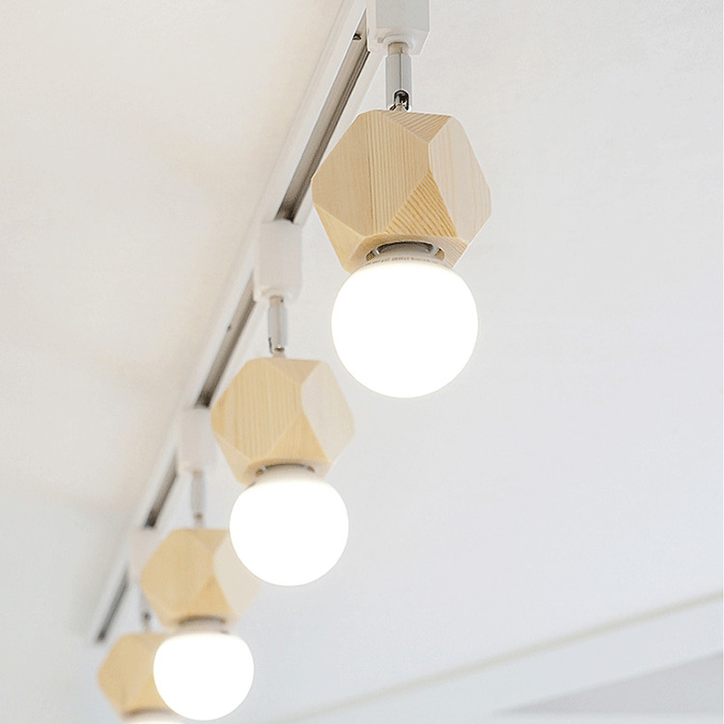 E27 Bulbs Modern Nordic 4 Light Adjustable Track Lights Creative Wood Restaurant Kitchen Ceiling Lamp Lighting Fixture CL232 4