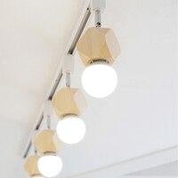E27 Bulbs Modern Nordic 4 Light Adjustable Track Lights Creative Wood Restaurant Kitchen Ceiling Lamp Lighting Fixture CL232 4