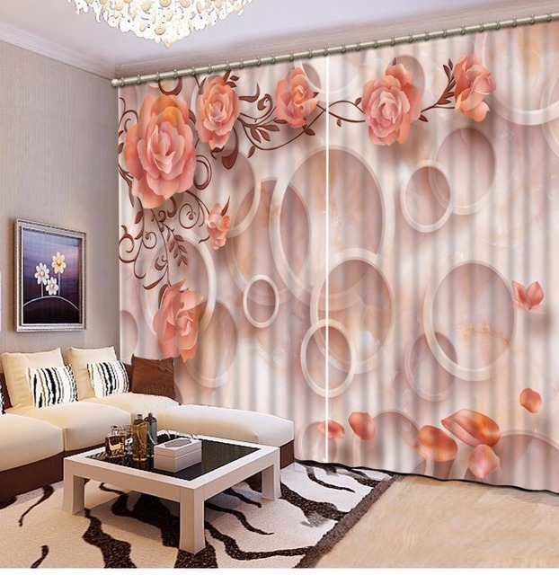 Luxury Curtains Orange Circle Rose Curtains For The Living Room Bedroom  Printing Window Curtain Marble Design