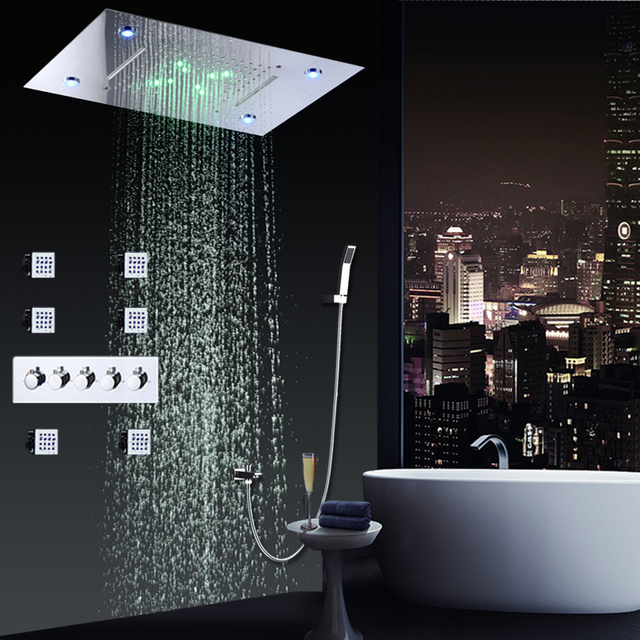 Bathroom Conealed Shower Set Faucets Panel Hot And Cold Water Mixer LED  Ceiling Showerhead Rainfall Waterfall