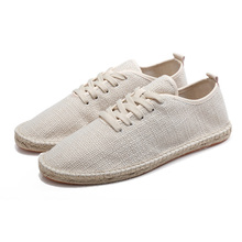 2019 Fashion Sneakers Men Breathable Hemp Shoes Summer Canvas Casual Lace Up Flat Loafers Comfortable Driving