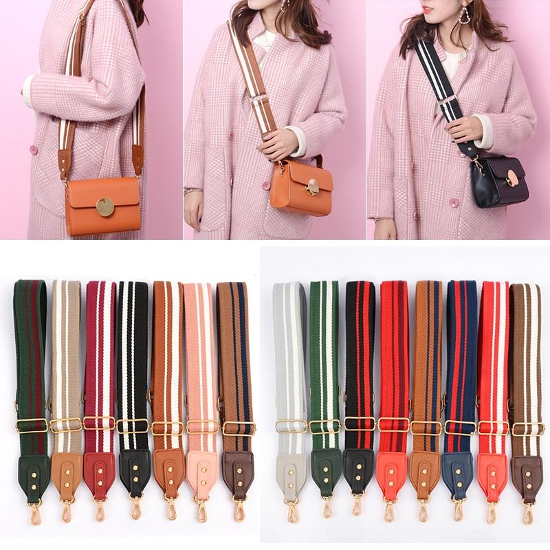 5cm Wide Bag Strap Canvas Cotton Fabric Shoulder Strap Belt Chromatic Stripe DIY Bag Accessories Adjustable 140~88