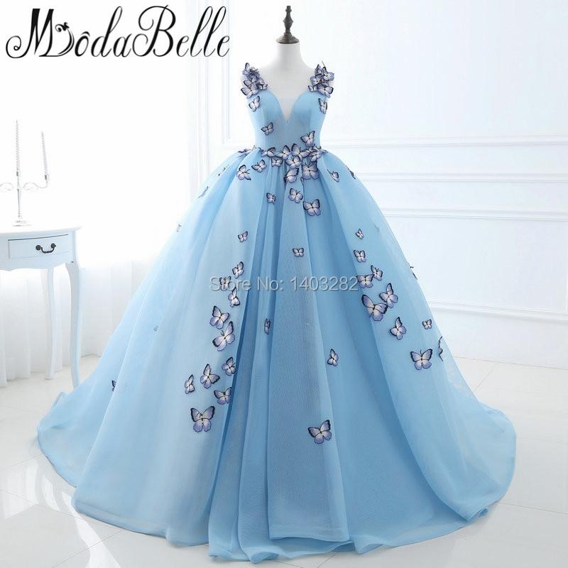 In stock arab butterfly blue wedding dresses for In stock wedding dresses