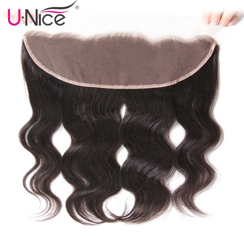 "UNice Hair Icenu Remy Hair Series Brazilian Body Wave Lace Frontal Free Part Ear to Ear Human Hair Lace Closure Size 13""x4"""