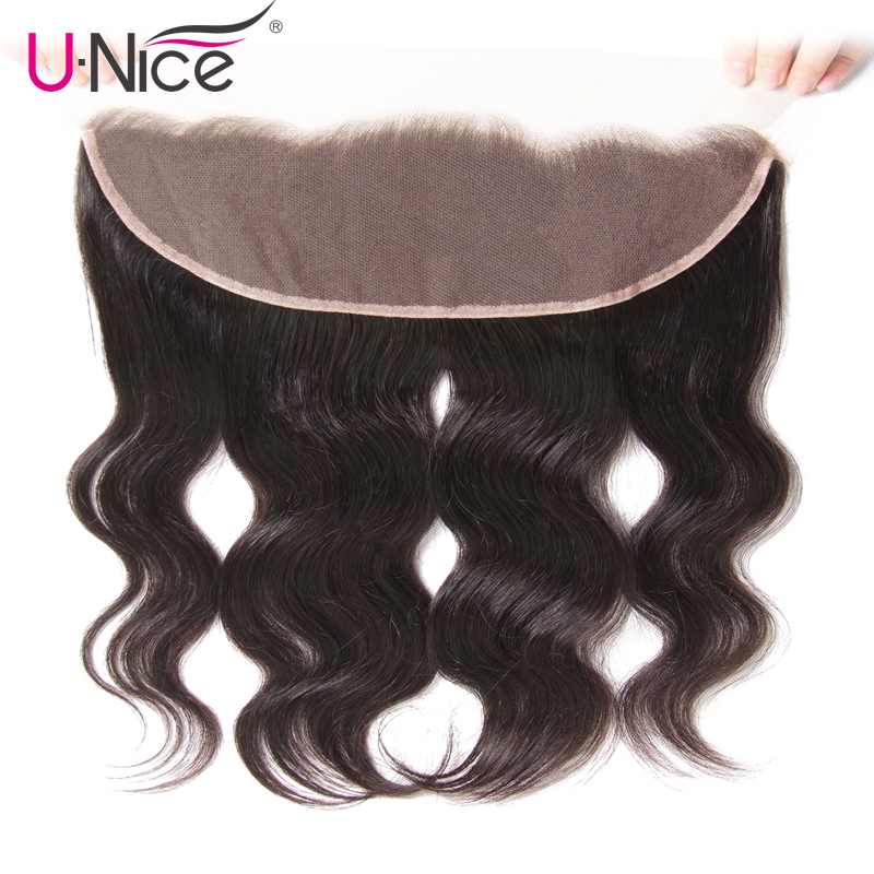 """UNice Hair Icenu Remy Hair Series Brazilian Body Wave Lace Frontal Free Part Ear to Ear Human Hair Lace Closure Size 13""""x4""""-in Closures from Hair Extensions & Wigs"""