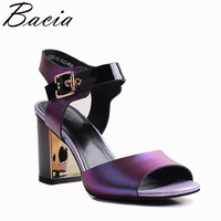 Bacia 2018 NEW Fashion Full Grain Leather Sandals 9 2cm Heels Novelty High Quality Genuine Leather