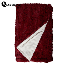 Luxury Long Hair Faux Fur Throw Blanket 130x160cm Winter Fluffy Warm Double Face Solid Color Adults Velvet Mink Blankets