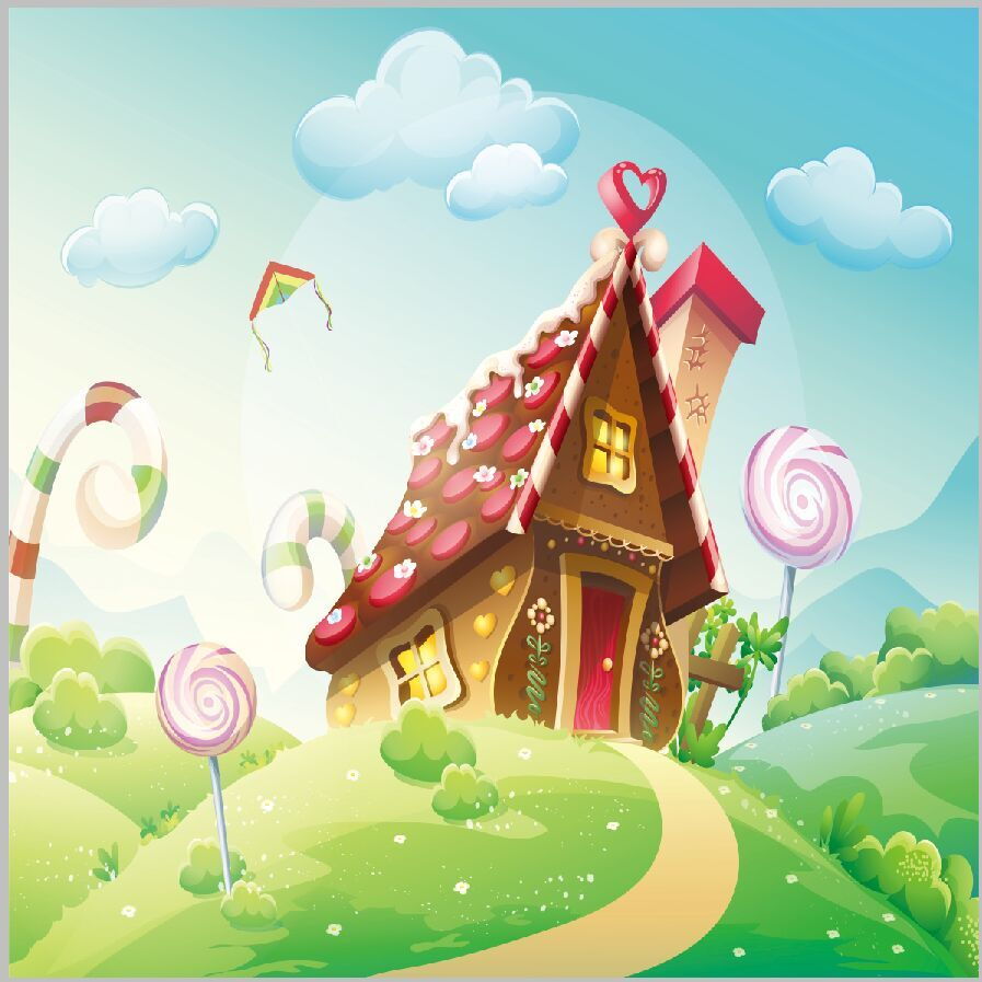 Ice Cream Wallpapers For Desktop: 8x8FT Green Garden Candy Land Chocolate Cottage House