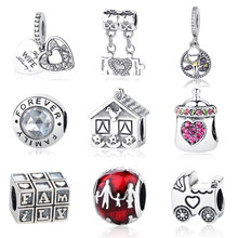 NEW Authentic 925 Sterling Silver Bead Love Heart Mom Home Family Forever Charm Fit Pandora Original Bracelets & Bangles Jewelry(China)