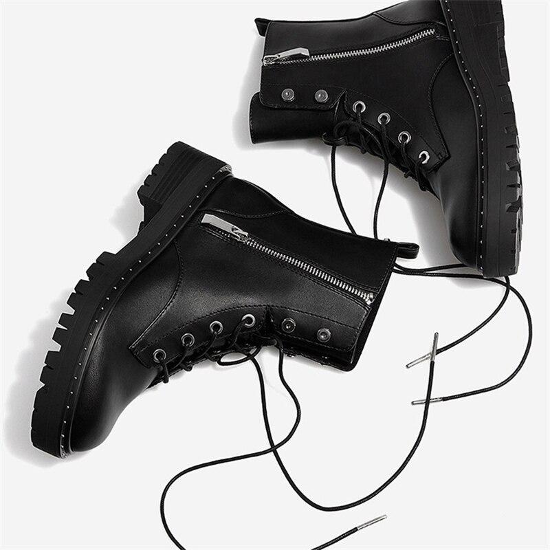 Image 4 - Boussac/Ботинки Martin на шнуровке с заклепками; женские ботильоны с круглым носком; короткие плюшевые зимние ботинки; женская обувь; Botas Mujer; SWE0212-in Полусапожки from Обувь
