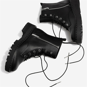 Image 4 - Boussac תחרה עד מסמרות מרטין מגפי נשים בוהן עגול מגפי קרסול נשים קצר בפלאש חורף נעלי נשים Botas Mujer SWE0212