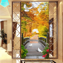 PSHINY 5D DIY Diamond embroidery Autumn Forest Scenic pictures Full Mosaic kit Square rhinestone Painting cross stich