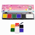 Face Paint Body Painting 6 Colors Set Brushes Colored Drawing Pigment 3g Water-based Human Face Makeup Cream Paste Party White