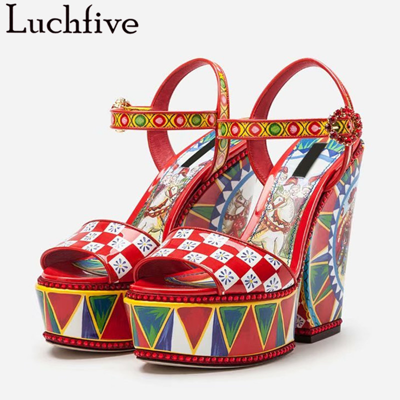Wedges High Heel Printing Sandals Women Plaid Rhinestone Platform Sandals Buckle Party Summer Shoes Wedding Ladies Shoes Woman Wedges High Heel Printing Sandals Women Plaid Rhinestone Platform Sandals Buckle Party Summer Shoes Wedding Ladies Shoes Woman