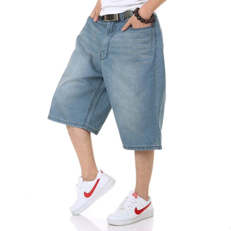 Summer Mens Shorts Hip Hop Harem Denim Jeans Boardshorts American Fashion Loose Baggy Cotton Shorts Big Size 30 46-in Casual Shorts from Men's Clothing    1