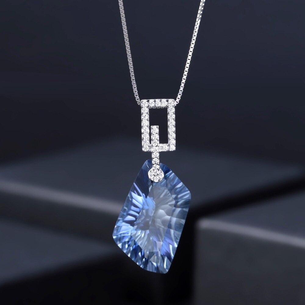 GEM'S BALLET Irregular Natural Iolite Blue Mystic Quartz Geometric Jewelry Sets 925 Sterling Silver Necklace Earrings Ring Set