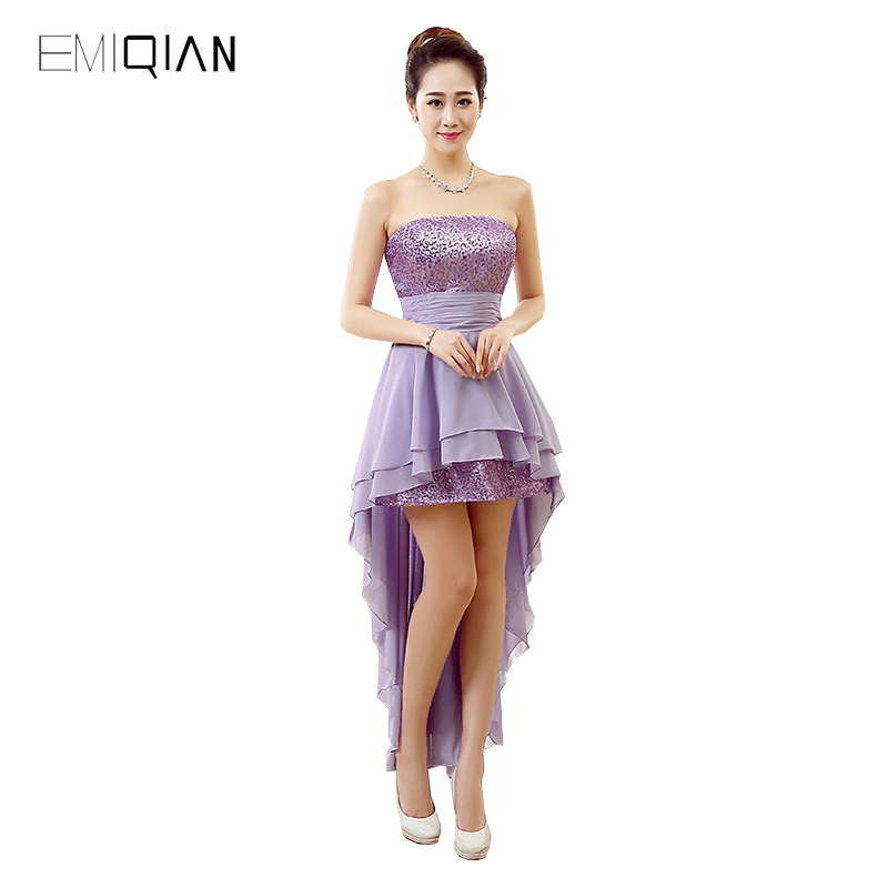 Original Design A Line Strapless Short Front Long Back Lilac Chiffon Designer   Cocktail     Dresses