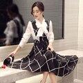 2 шт. набор женской одежды 2017 весна осень корейский длинная юбка костюмы из двух частей костюмы рубашки и ремни сетки юбки женский A1577