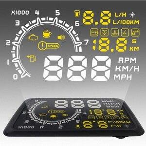 Image 2 - 5.5 pollici Auto HUD Head Up Display OBD2 II Sistema di Allarme di Velocità Eccessiva Proiettore Auto di Temperatura di Allarme di Velocità