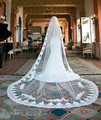 Vintage Cathedral Wedding Veils Lace Applique Edge Long One Layer Bridal Veils In Stock