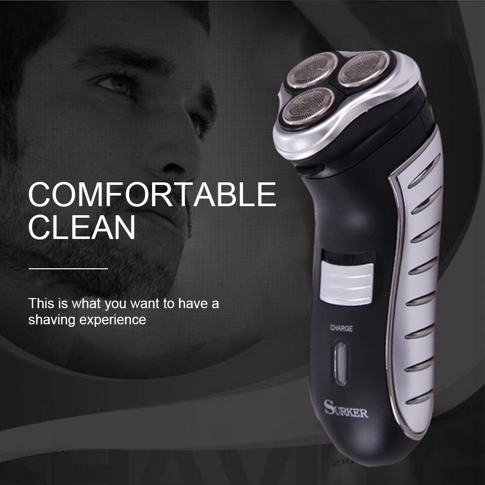 SURKER RSCW-258 Electric Shaver Beard Trimmer Rechargeable Rotating Floating 3 Heads Random Color EU Plug Father s Day Gift