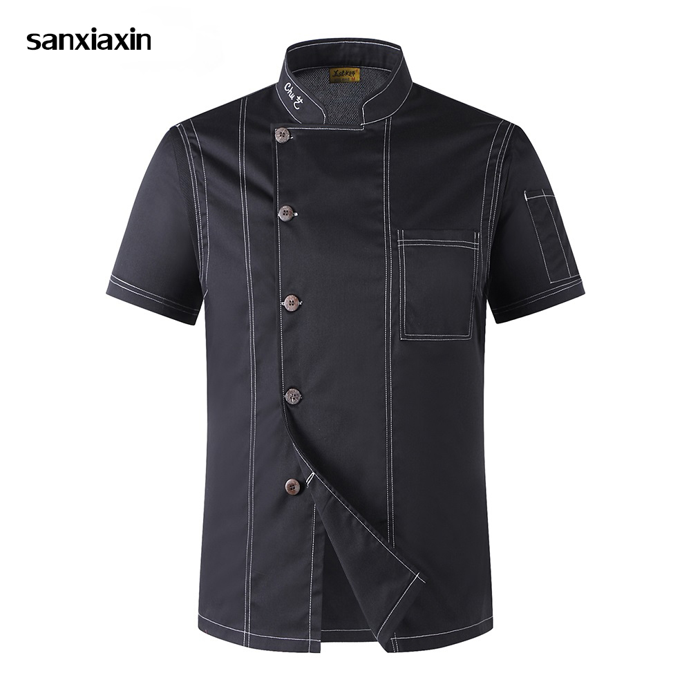 Sanxiaxin Chef Uniforms Unisex Restaurant Uniform Wholesale Chef Jacket Hotel Chef's Uniform Short Sleeve Breathable Workwear