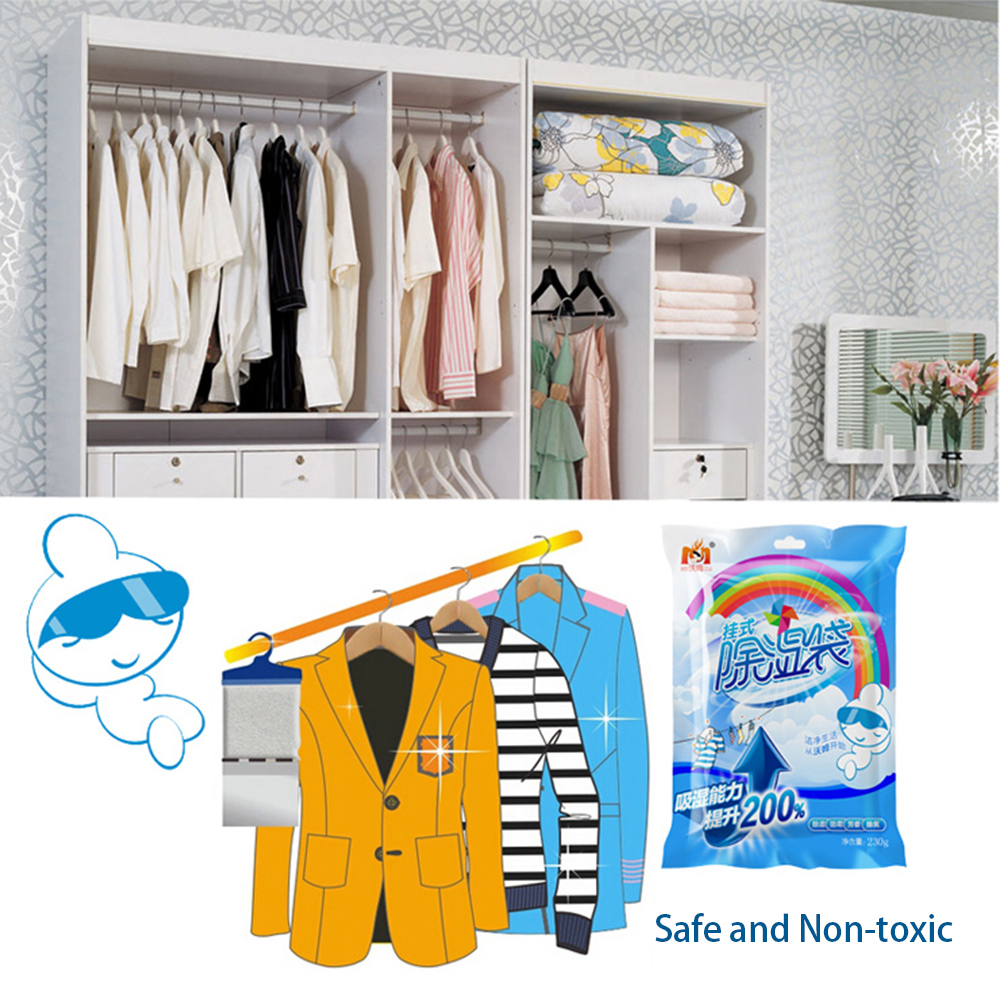 180g Wardrobe Cabinet Moldproof Dehumidification Bag Can Be Used To Hang Dehumidifier Bag 500ML Household Moisture Absorber