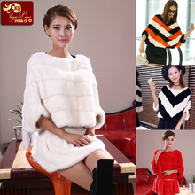 2016 new fashion full Pelt Real Mink Fur coat female Batwing Sleeve Outwear Coats Genuine Mink Fur Pullover Women's Clothes