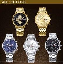 North Brand Luxury Gold Men's Watch Business Waterproof Calendar Dress Watches for Men Golden Antique Casual Male Clock