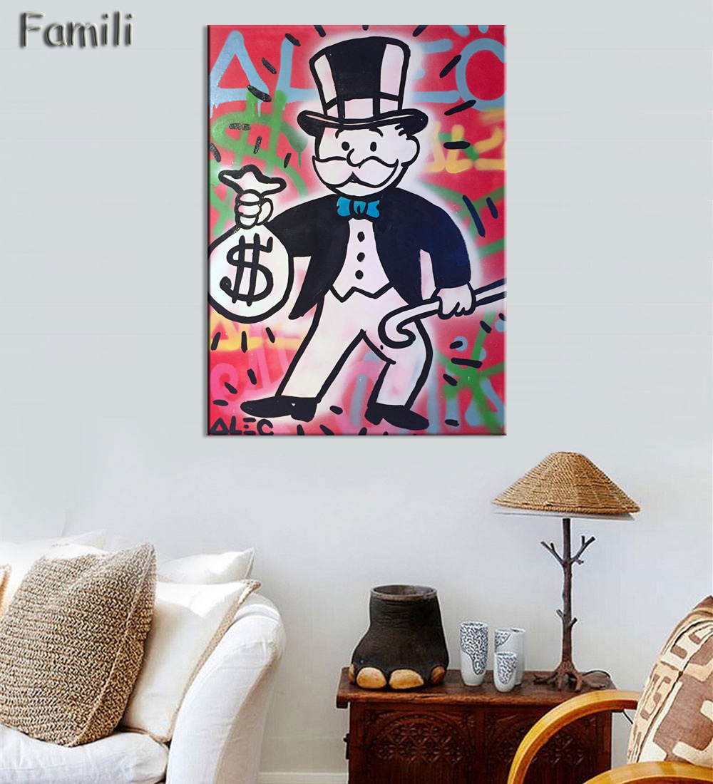 popular colorful pop art buy cheap colorful pop art lots from alec monopoly painting color arts canvas print pop art giclee poster print on canvas for wall