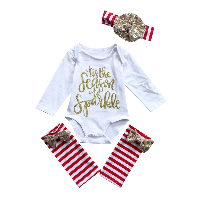 Xmas Kid Baby Girl Clothes Jumpsuit Romper Leggings Headband Outfit Set