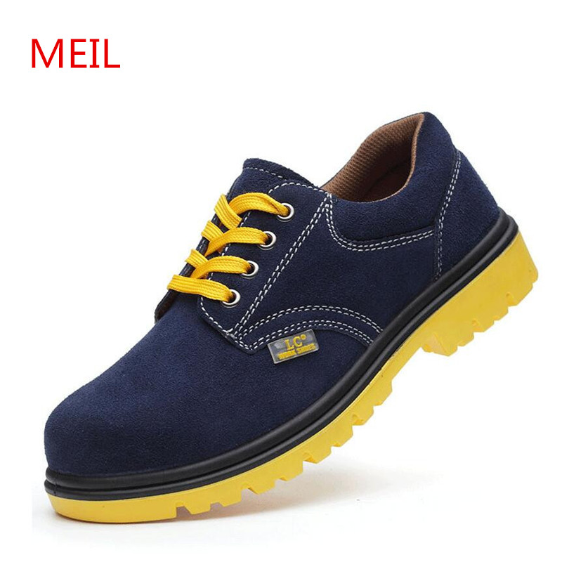 MEIL Shoes Men Safety Shoes Steel Toe Work Shoes Flats Casual Protective Footwear Genuine Leather Shoes work boots цены онлайн