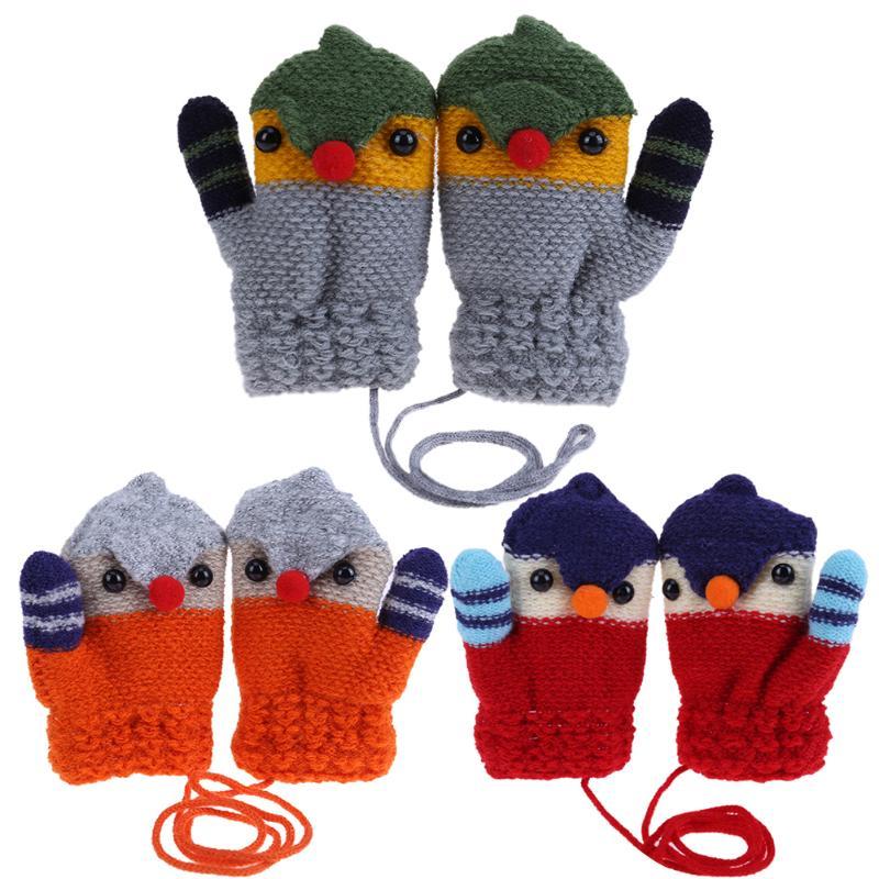 цена на Children Knitted Elastic Fleece Thick Crochet Gloves Full Finger Mittens Cartoon Bird Mittens Warm Winter Gloves for Kids