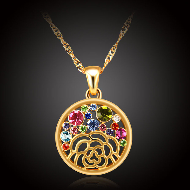 Colorful austrian crystal necklace women gold color fashion wedding colorful austrian crystal necklace women gold color fashion wedding rose flower girls necklaces pendants valentines mozeypictures Images