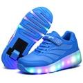 Niños Zapatos de Los Niños de Iluminación Retráctil Rueda Luz de Zapatos Zapatillas de Deporte Para Adultos Adolescentes Corriendo Entrenadores Chaussure Lumineuse