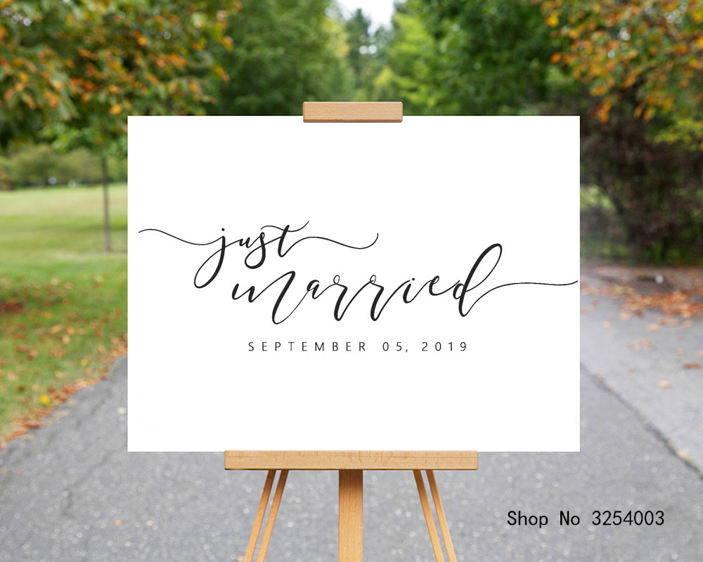 Just Married Wedding Sign Stickers Wedding Decor Custom Date Reception Signage Vinyl Decal for Blackboard Glass or Board S411