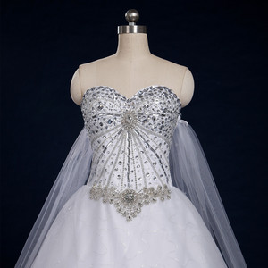 Image 5 - 2020 New Luxury Big Train Wedding Dress Sexy Crystals Beaded Bridal Gown Custom made Plus Size Wedding Gown
