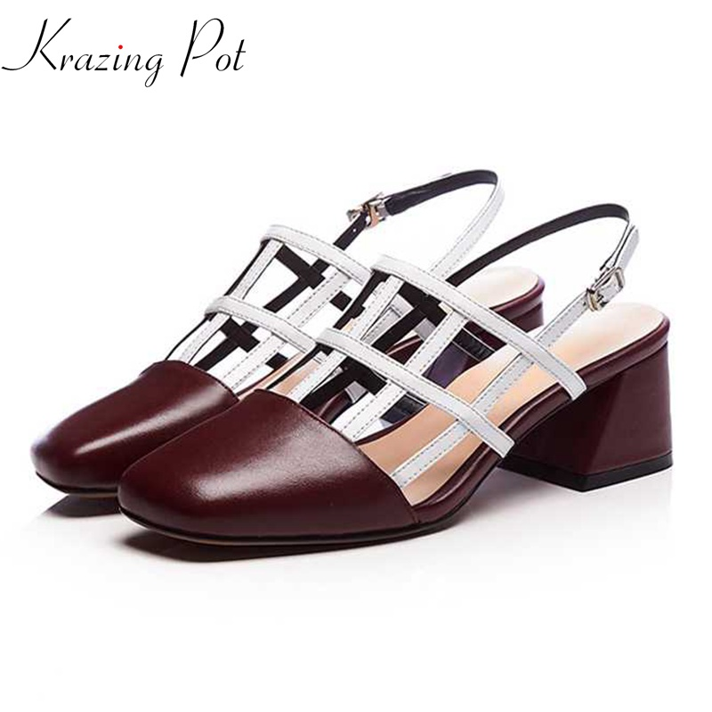 Krazing pot genuine leather square toe ankle straps fashion women sandals hollow high heels mixed colors summer causal shoes L53 krazing pot new genuine leather peep toe ankle straps rivets fashion women sandals women square high heels summer lady shoes l20