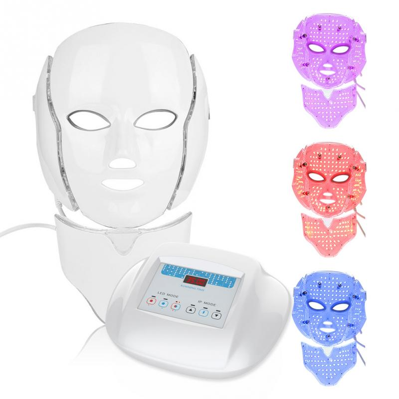 3 Color LED Light Photon Therapy Facial Neck Face Mask Microcurrent Skin Rejuvenation Electric Anti-Aging Face Beauty Mask
