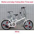 "20"" Folding Mini Bicycle 3 Speeds Mother & Baby Double Seat City Bike High-catbon Steel Frame Adding Back Seat for Children Kids"