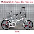 """20 """"Mini Bicicleta plegable de 3 Velocidades Mother & Baby Asiento Doble Bici de la ciudad de Alta Estructura De Acero catbon de la Adición de Nuevo Asiento para Niños niños"""